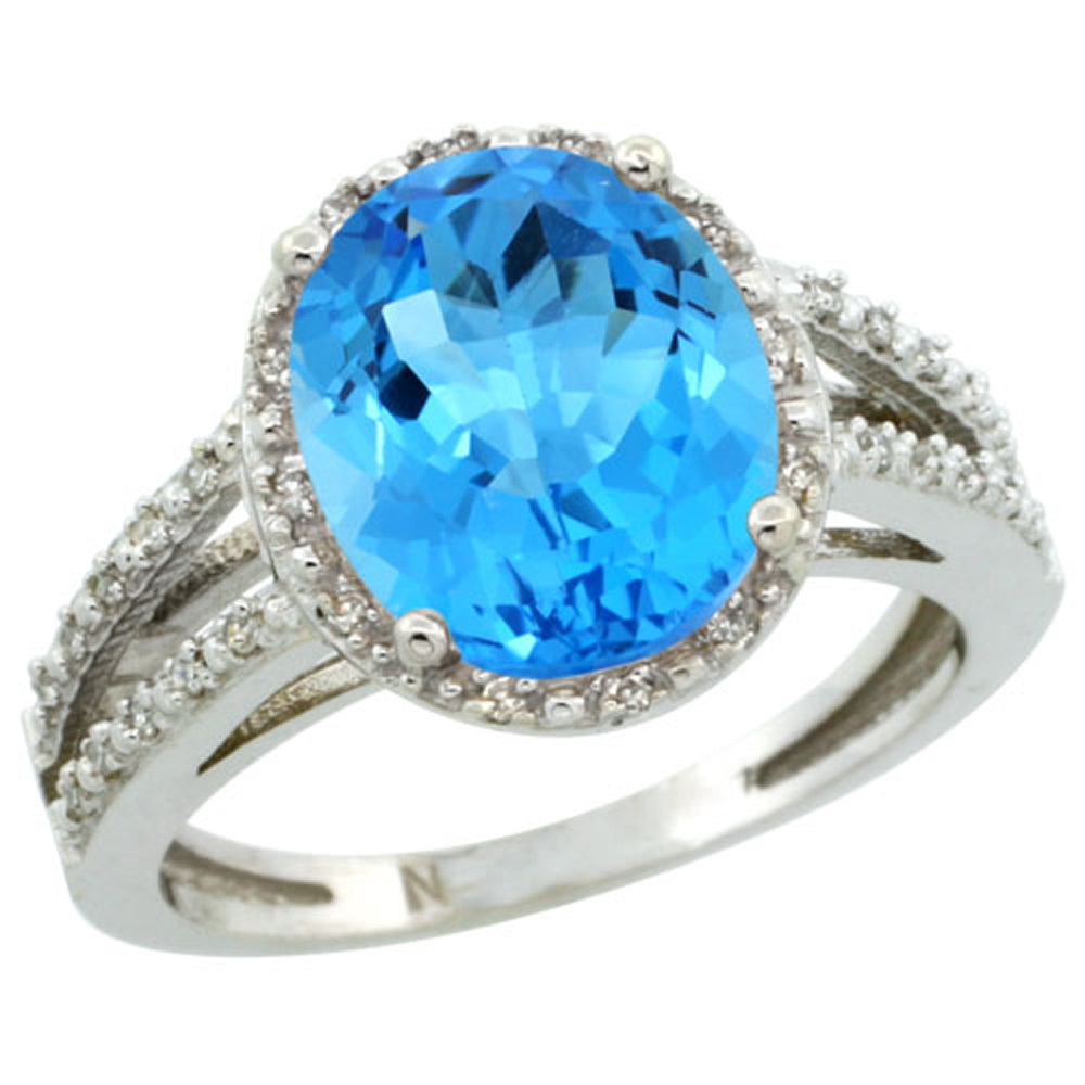 Sterling Silver Diamond Halo Natural Swiss Blue Topaz Ring Oval 11x9mm, 7/16 inch wide, sizes 5-10