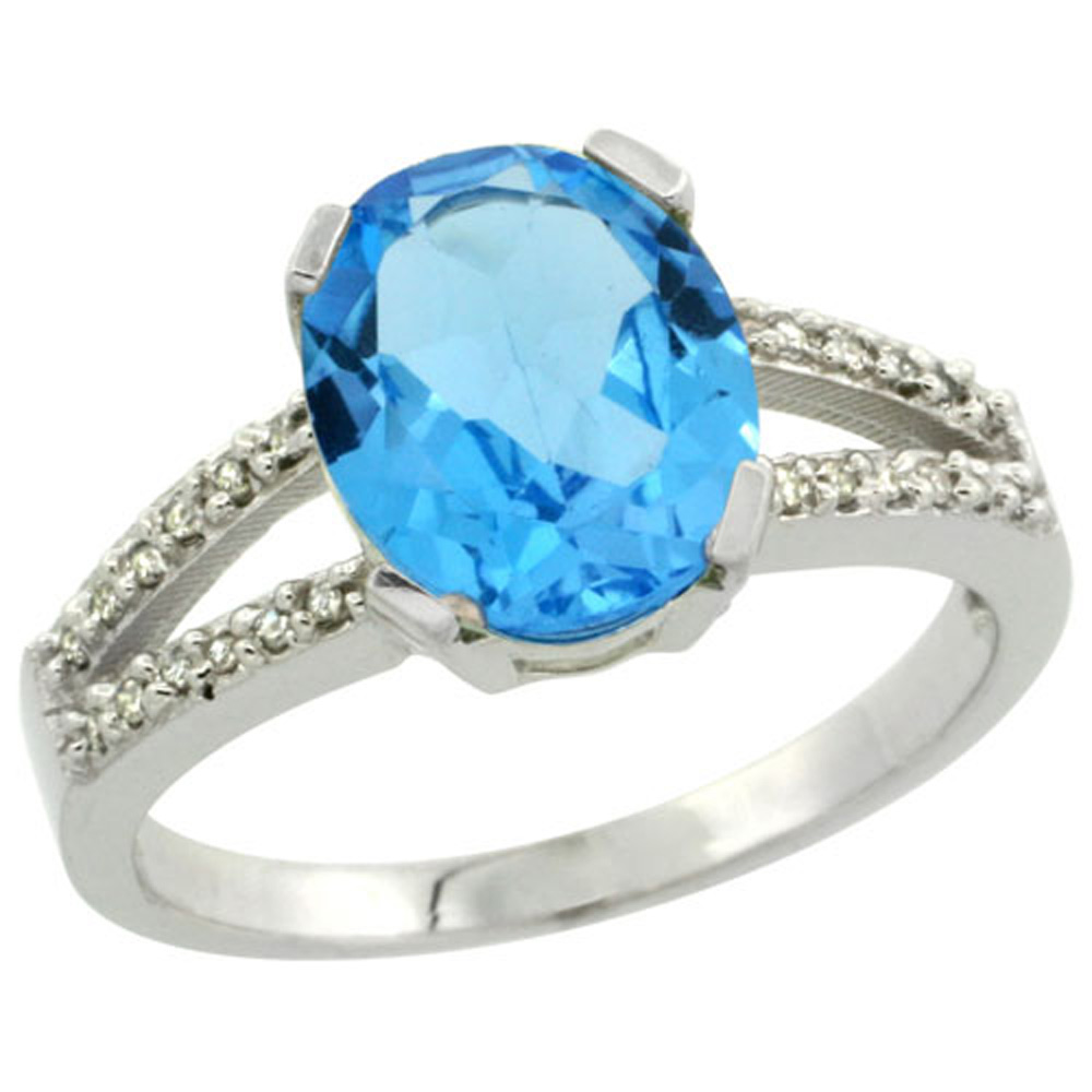 Sterling Silver Diamond Halo Natural Swiss Blue Topaz Ring Oval 10x8mm, 3/8 inch wide, sizes 5-10