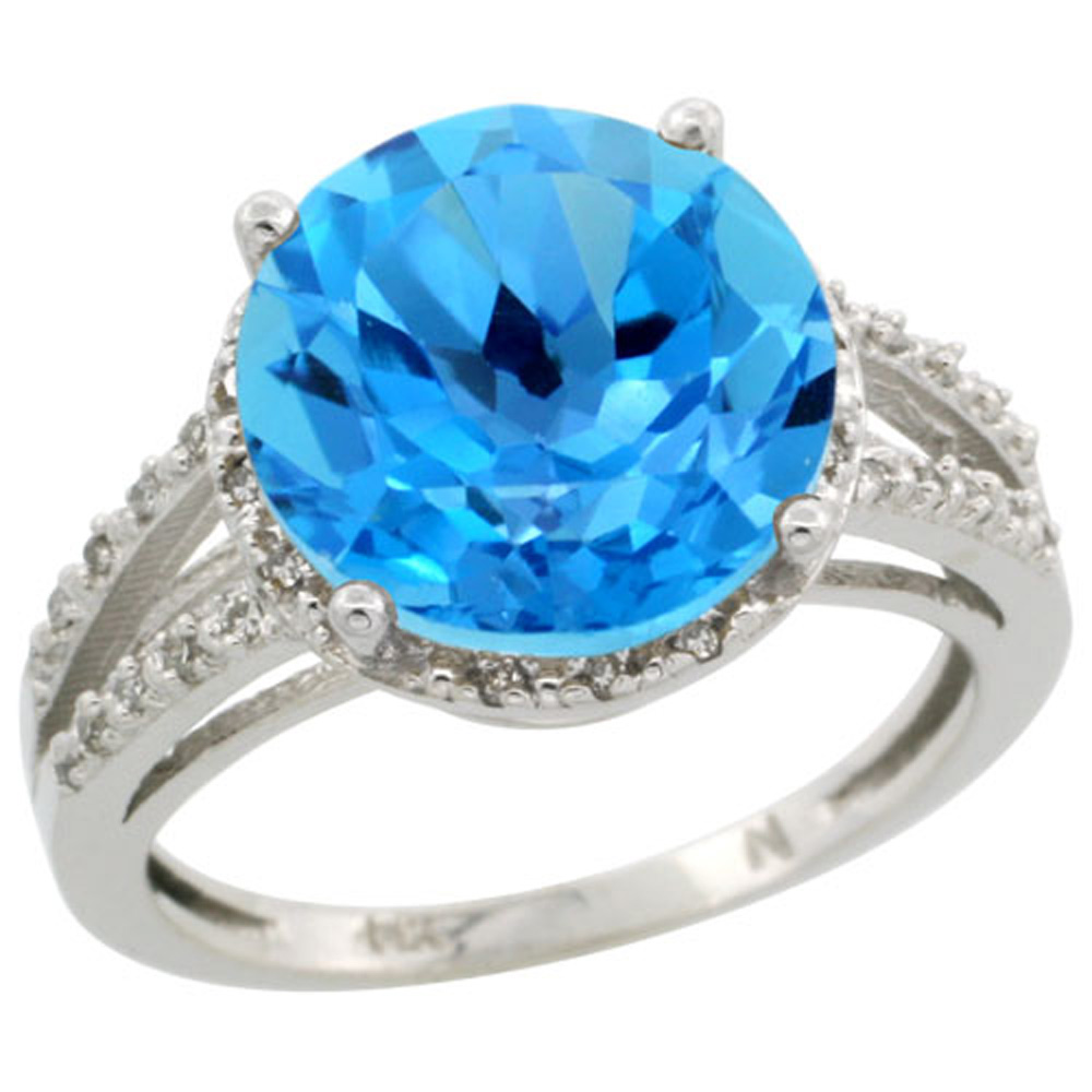 Sterling Silver Diamond Natural Swiss Blue Topaz Ring Round 11mm, 1/2 inch wide, sizes 5-10