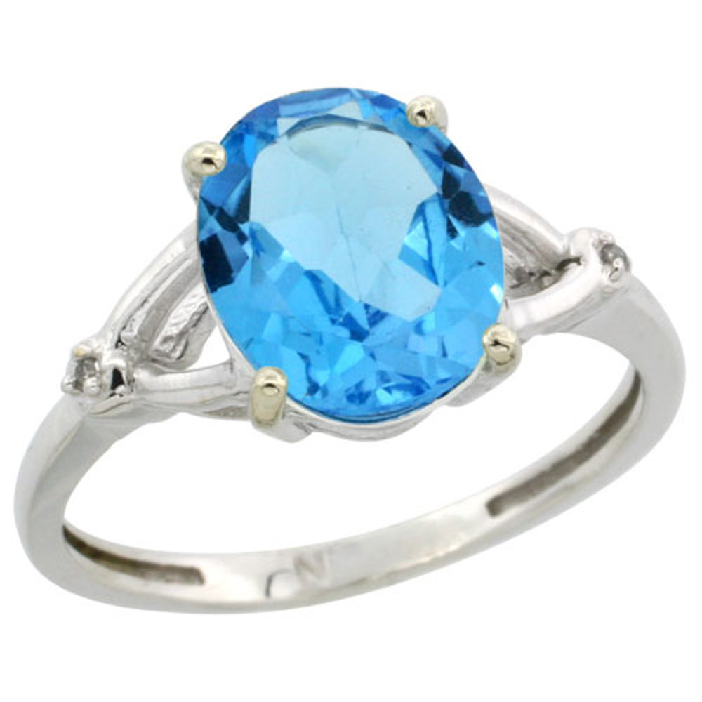 Sterling Silver Diamond Natural Swiss Blue Topaz Ring Oval 10x8mm, 3/8 inch wide, sizes 5-10