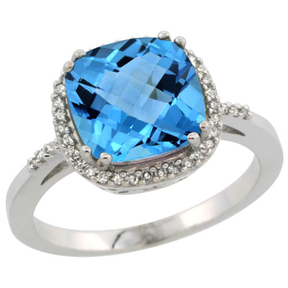 Sterling Silver Diamond Natural Swiss Blue Topaz Ring Cushion-cut 9x9mm, 1/2 inch wide, sizes 5-10