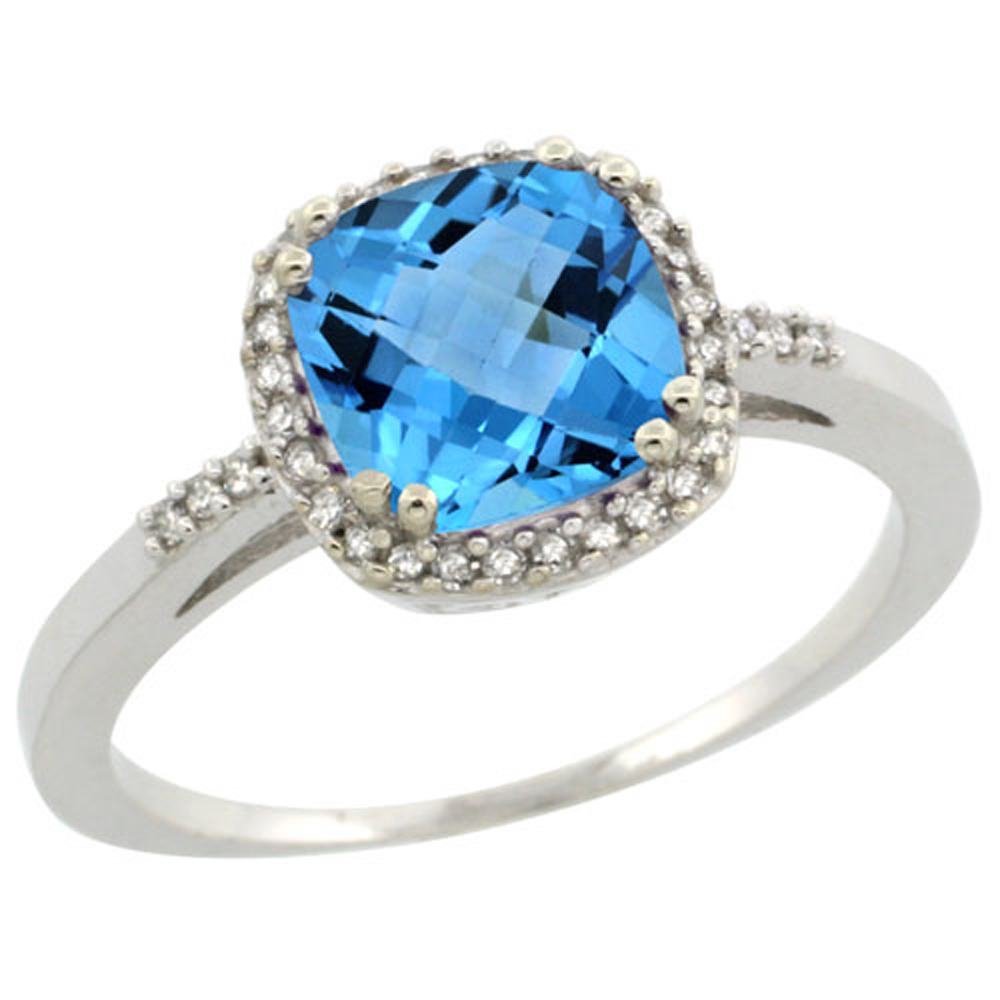 Sterling Silver Diamond Natural Swiss Blue Topaz Ring Cushion-cut 7x7mm, 3/8 inch wide, sizes 5-10