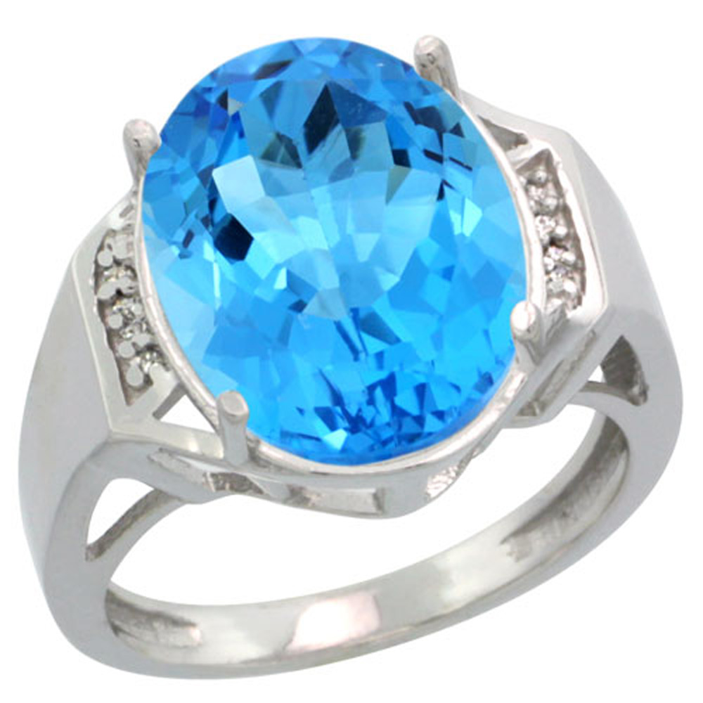 Sterling Silver Diamond Natural Swiss Blue Topaz Ring Oval 16x12mm, 5/8 inch wide, sizes 5-10