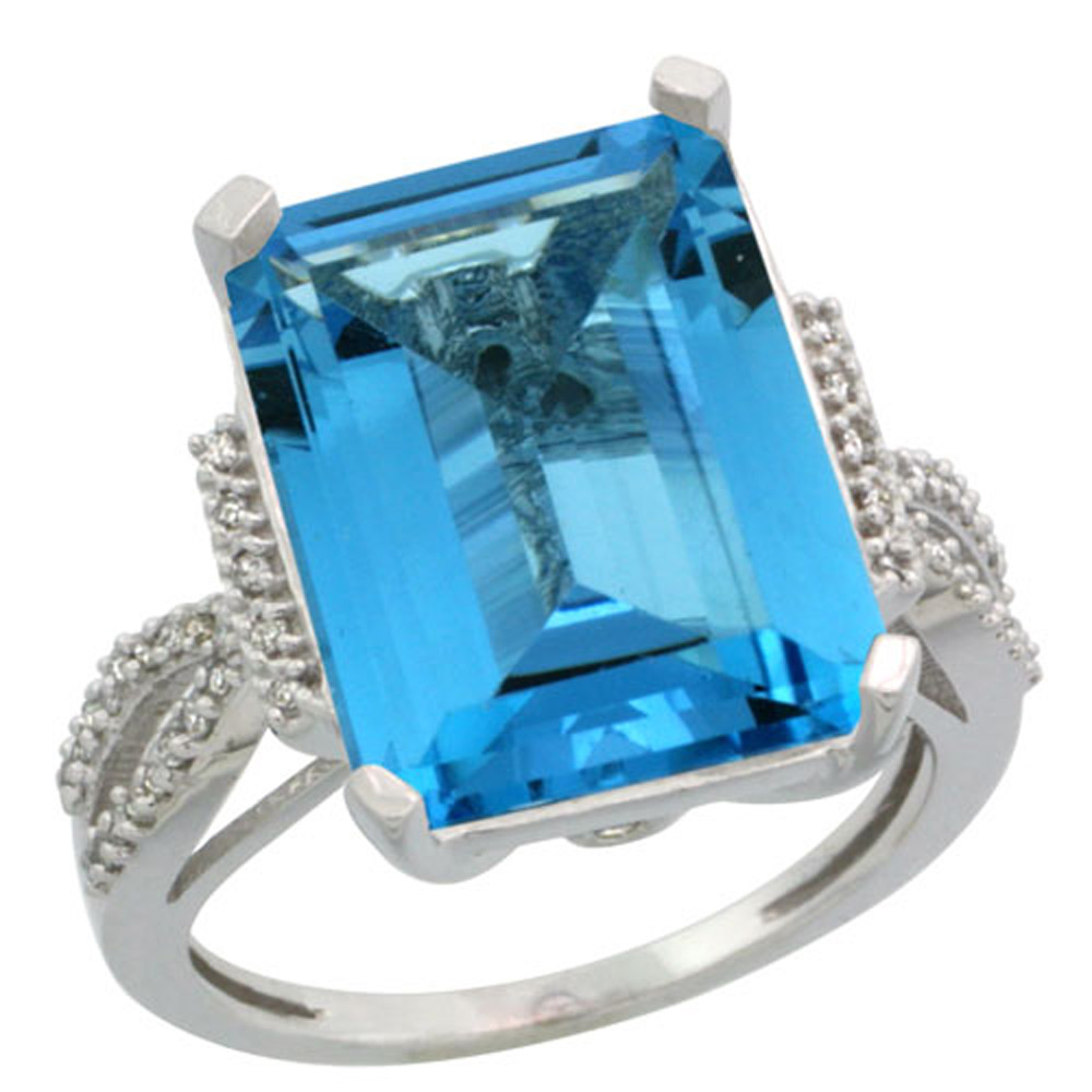 Sterling Silver Diamond Natural Swiss Blue Topaz Ring Emerald-cut 16x12mm, 3/4 inch wide, sizes 5-10