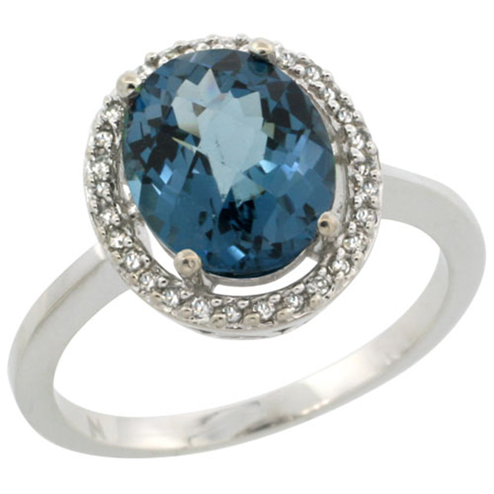 Sterling Silver Diamond Halo Natural London Blue Topaz Ring Oval 10X8 mm, 1/2 inch wide, sizes 5-10