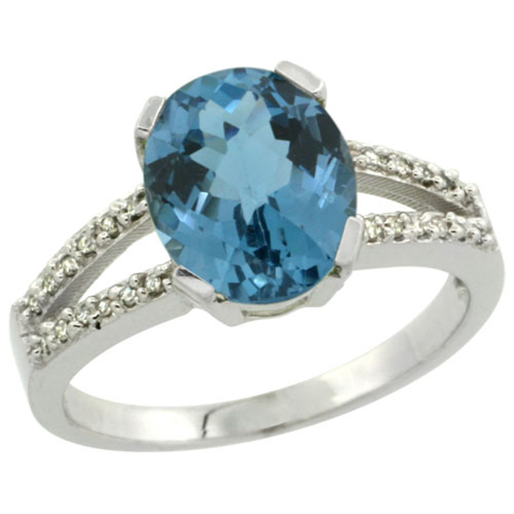 Sterling Silver Diamond Halo Natural London Blue Topaz Ring Oval 10x8mm, 3/8 inch wide, sizes 5-10