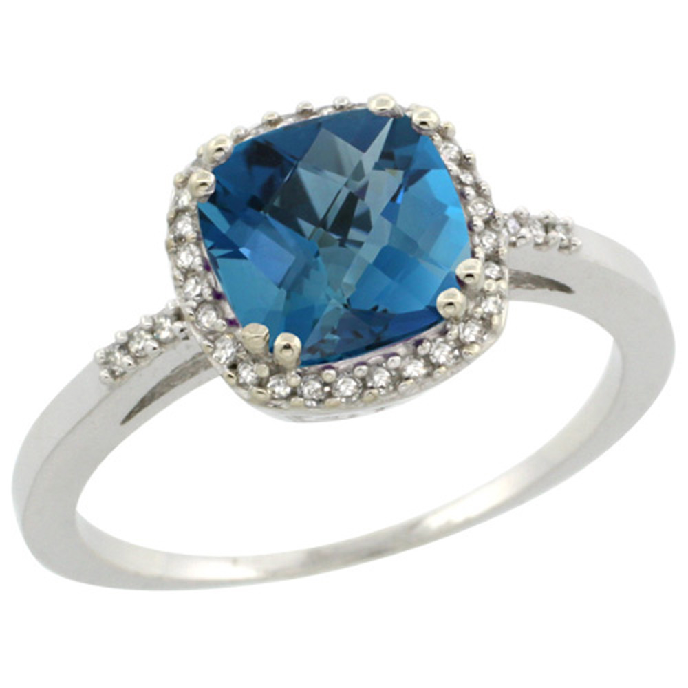 Sterling Silver Diamond Natural London Blue Topaz Ring Cushion-cut 7x7mm, 3/8 inch wide, sizes 5-10
