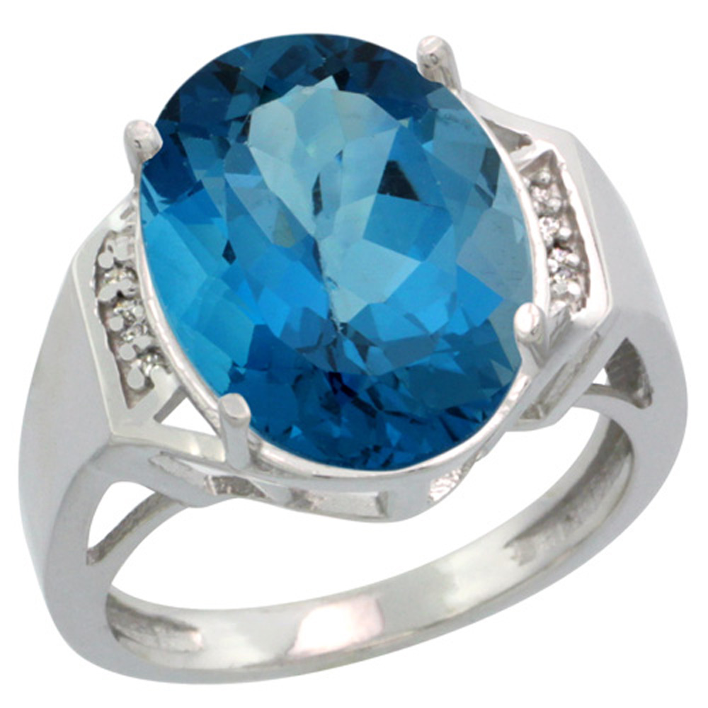 Sterling Silver Diamond Natural London Blue Topaz Ring Oval 16x12mm, 5/8 inch wide, sizes 5-10