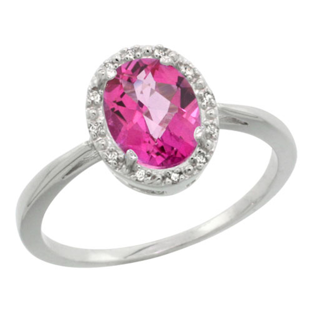 Sterling Silver Natural Pink Sapphire Diamond Halo Ring Oval 8x6 mm, sizes 5 10
