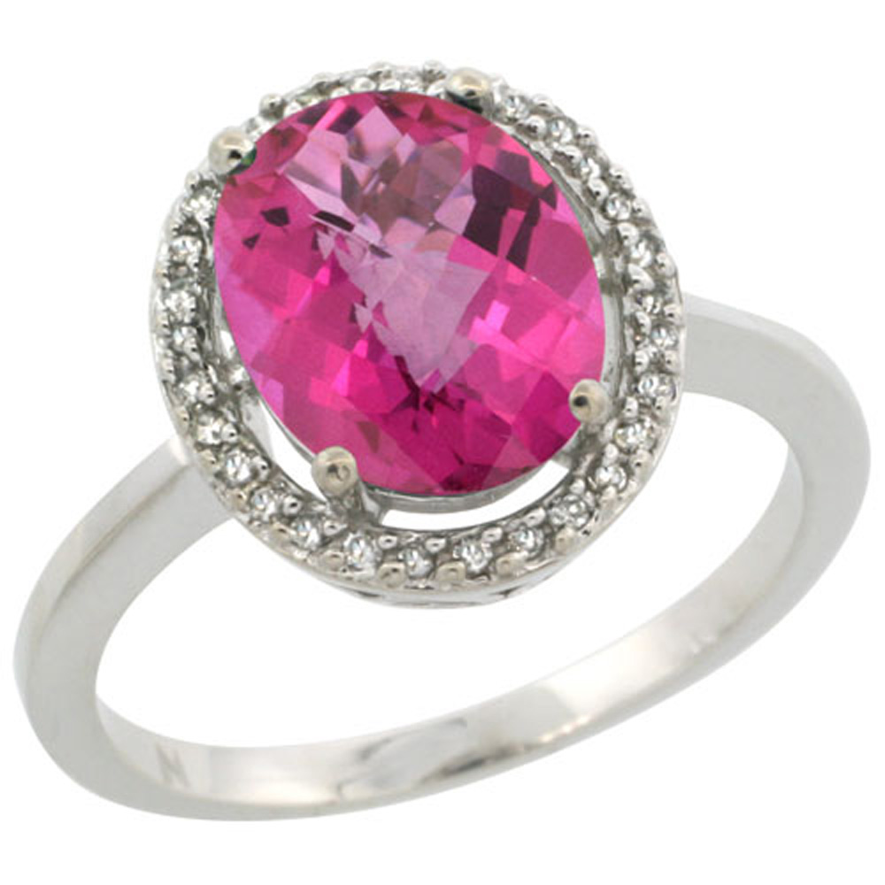 Sterling Silver Diamond Halo Natural Pink Topaz Ring Oval 10X8 mm, 1/2 inch wide, sizes 5-10