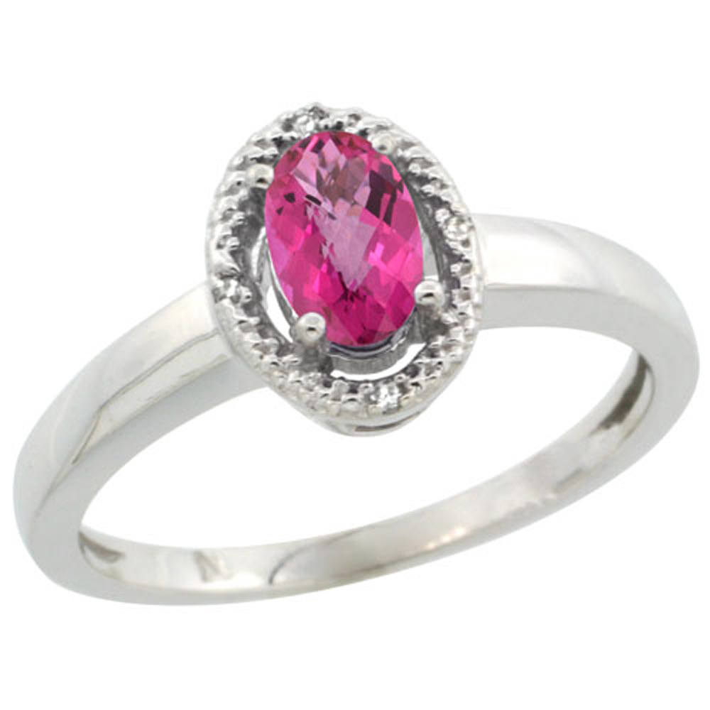 Sterling Silver Diamond Halo Natural Pink Topaz Ring Oval 6X4 mm, 3/8 inch wide, sizes 5-10