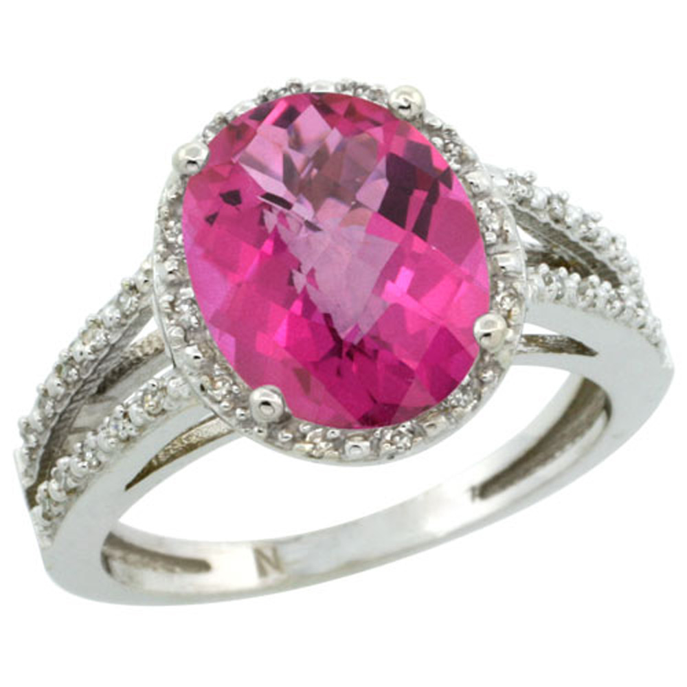 Sterling Silver Diamond Halo Natural Pink Topaz Ring Oval 11x9mm, 7/16 inch wide, sizes 5-10