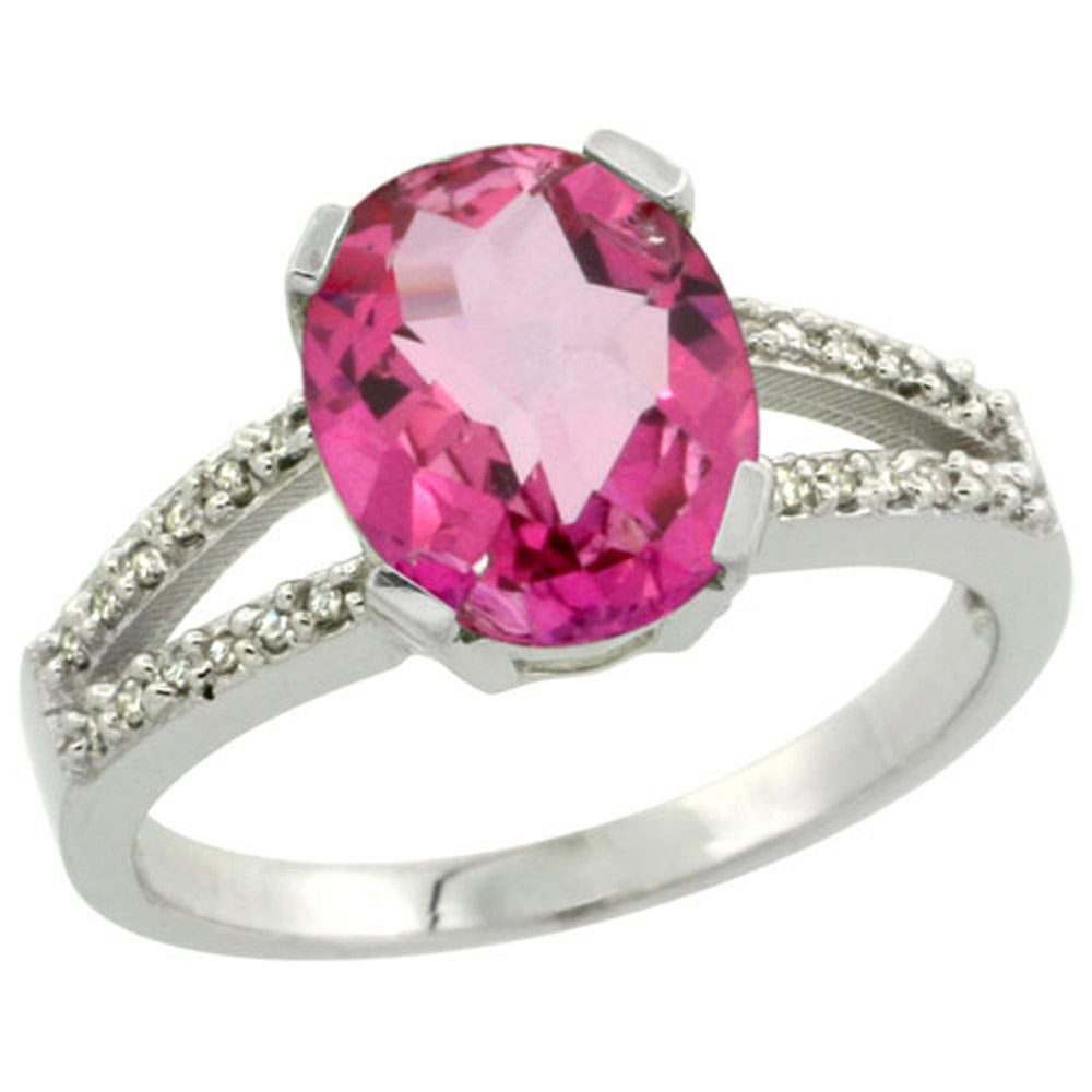 Sterling Silver Diamond Halo Natural Pink Topaz Ring Oval 10x8mm, 3/8 inch wide, sizes 5-10