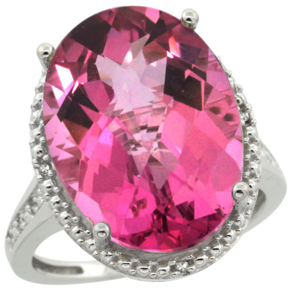 Sterling Silver Diamond Natural Pink Topaz Ring Oval 18x13mm, 3/4 inch wide, sizes 5-10