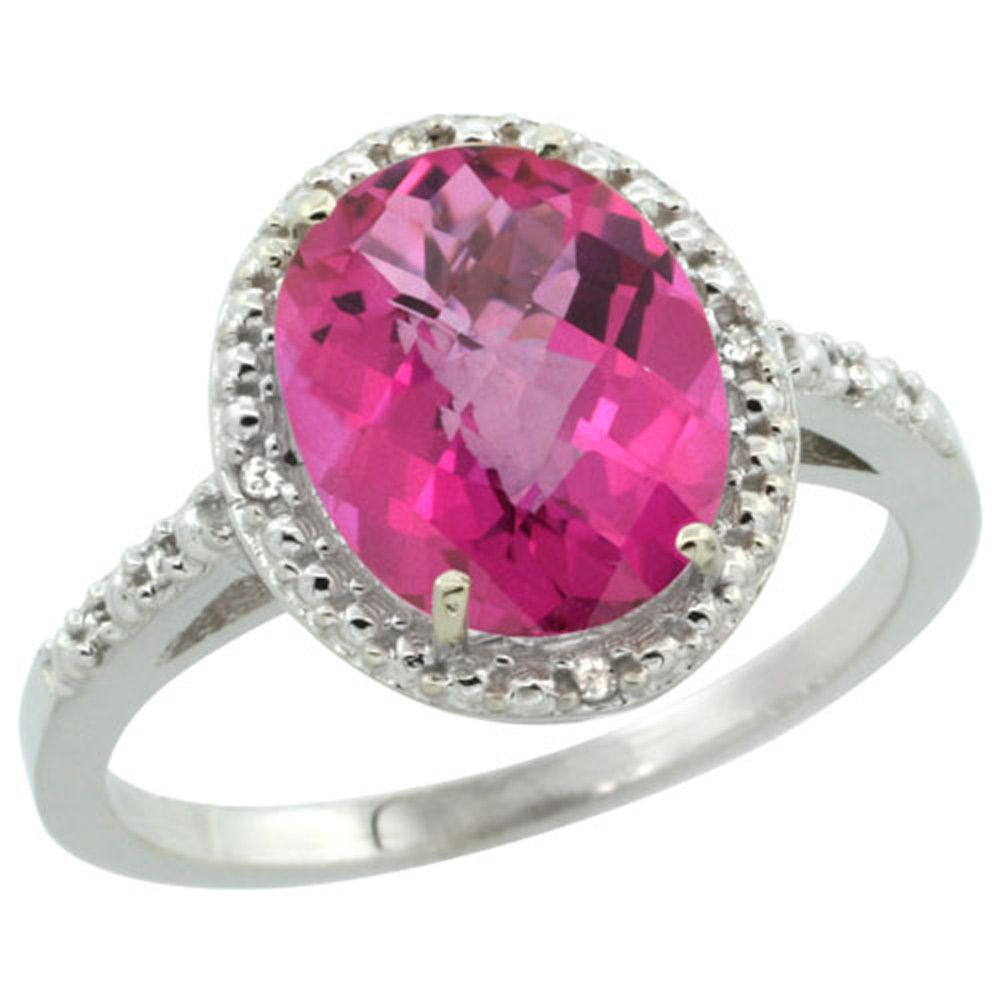 Sterling Silver Diamond Natural Pink Topaz Ring Oval 10x8mm, 1/2 inch wide, sizes 5-10