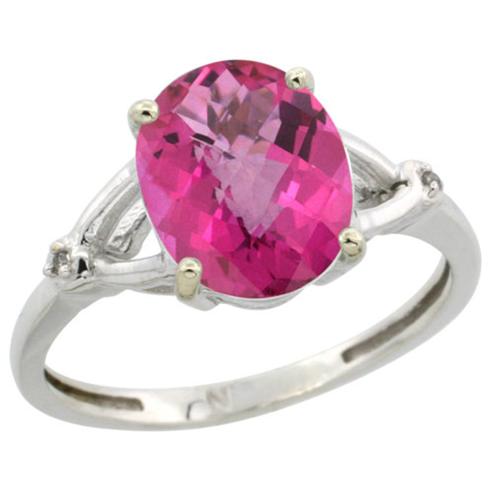 Sterling Silver Diamond Natural Pink Topaz Ring Oval 10x8mm, 3/8 inch wide, sizes 5-10