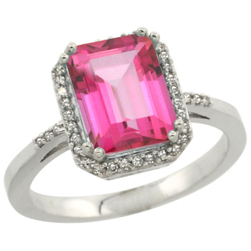 Sterling Silver Diamond Natural Pink Topaz Ring Emerald-cut 9x7mm, 1/2 inch wide, sizes 5-10