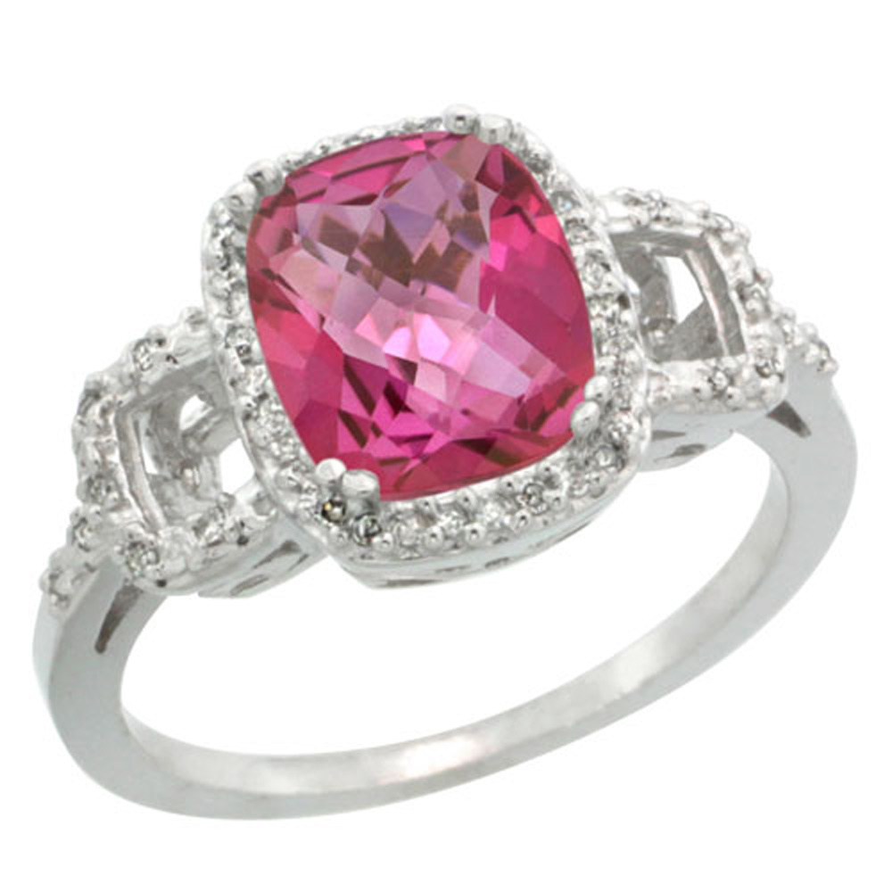 Sterling Silver Diamond Natural Pink Topaz Ring Cushion-cut 9x7mm, 1/2 inch wide, sizes 5-10