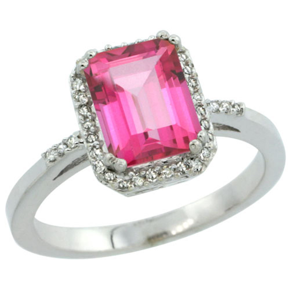 Sterling Silver Diamond Natural Pink Topaz Ring Emerald-cut 8x6mm, 1/2 inch wide, sizes 5-10