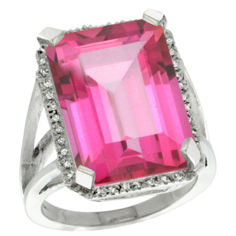 Sterling Silver Diamond Natural Pink Topaz Ring Emerald-cut 18x13mm, 13/16 inch wide, sizes 5-10