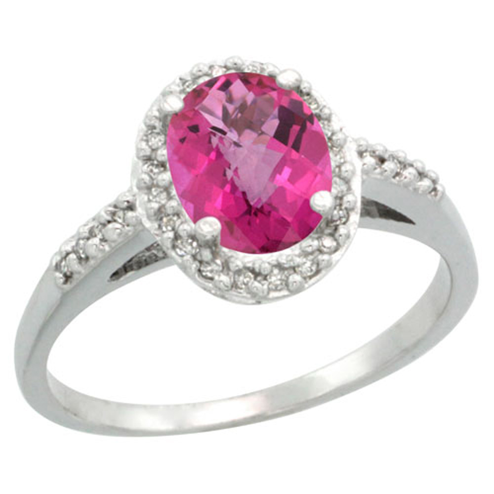 Sterling Silver Diamond Natural Pink Sapphire Ring Oval 8x6 mm, sizes 5-10