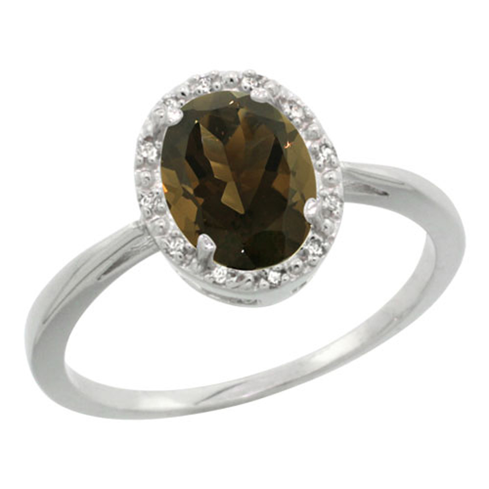Sterling Silver Natural Smoky Topaz Diamond Halo Ring Oval 8X6mm, 1/2 inch wide, sizes 5-10