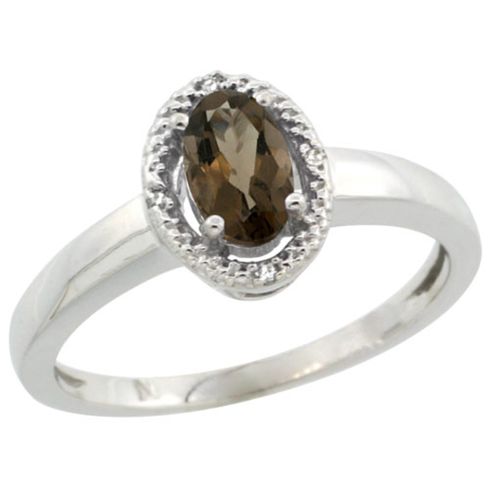Sterling Silver Diamond Halo Natural Smoky Topaz Ring Oval 6X4 mm, 3/8 inch wide, sizes 5-10