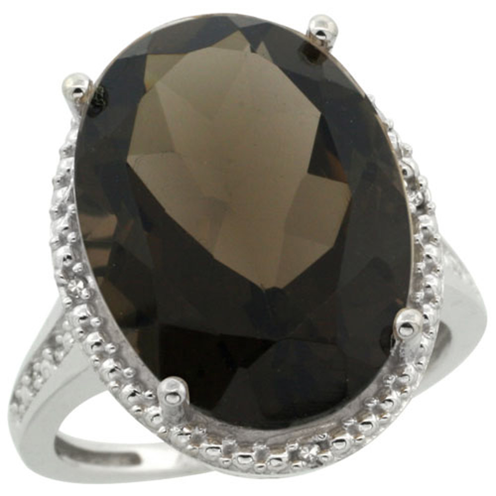 Sterling Silver Diamond Natural Smoky Topaz Ring Oval 18x13mm, 3/4 inch wide, sizes 5-10