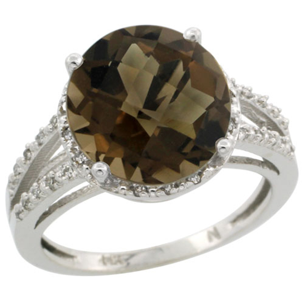 Sterling Silver Diamond Natural Smoky Topaz Ring Round 11mm, 1/2 inch wide, sizes 5-10