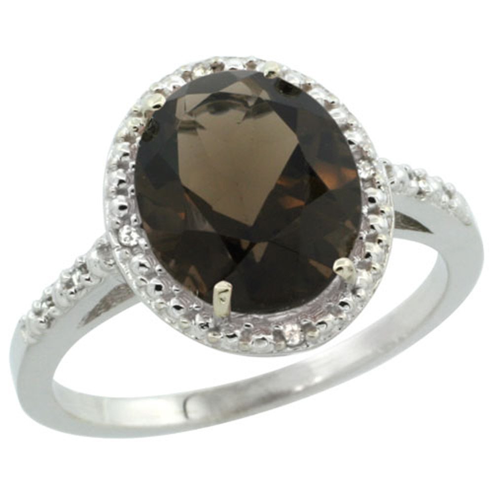 Sterling Silver Diamond Natural Smoky Topaz Ring Oval 10x8mm, 1/2 inch wide, sizes 5-10