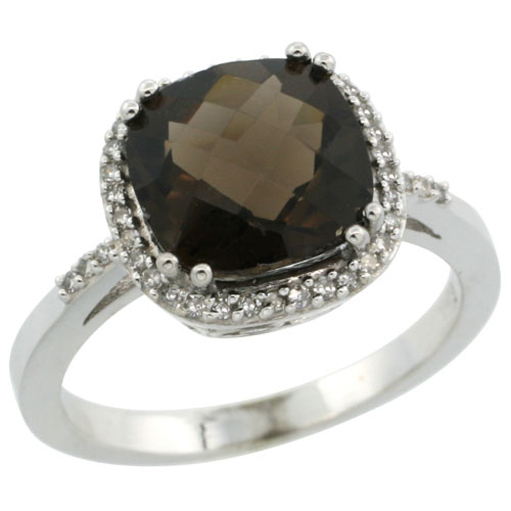 Sterling Silver Diamond Natural Smoky Topaz Ring Cushion-cut 9x9mm, 1/2 inch wide, sizes 5-10