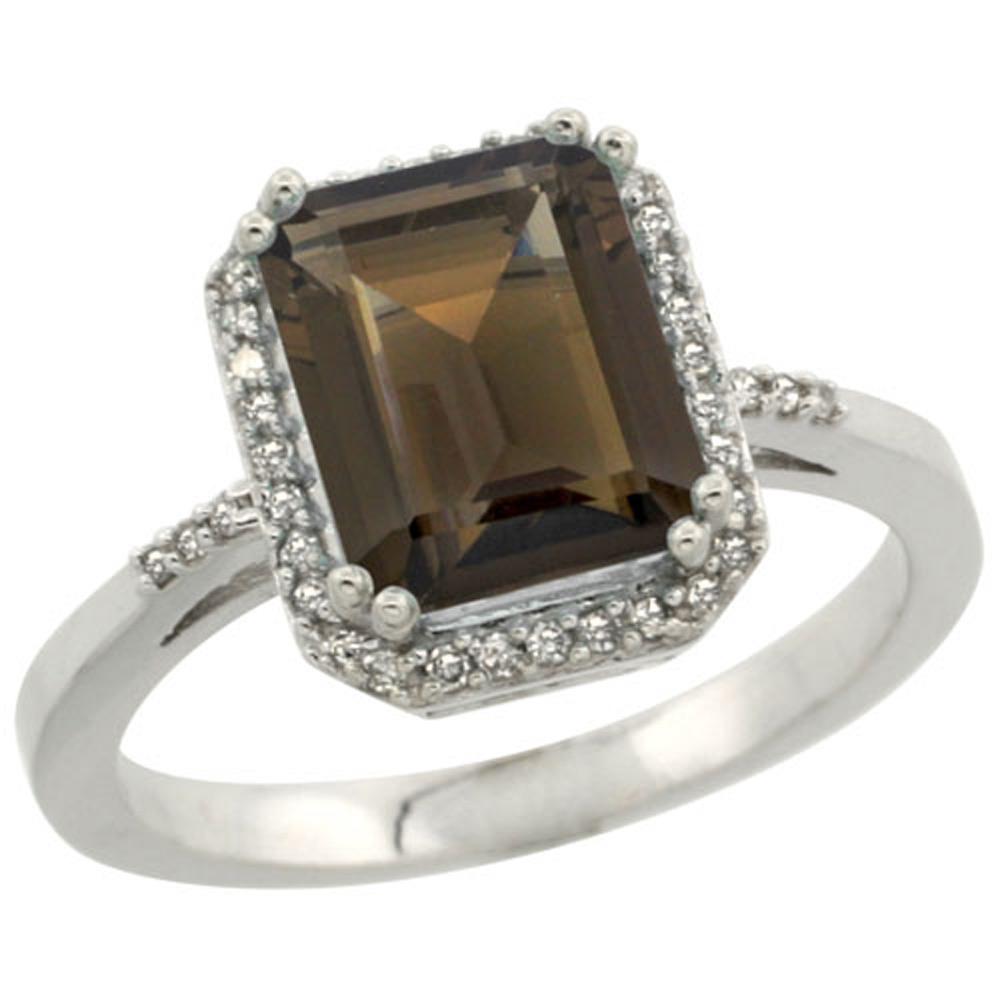 Sterling Silver Diamond Natural Smoky Topaz Ring Emerald-cut 9x7mm, 1/2 inch wide, sizes 5-10