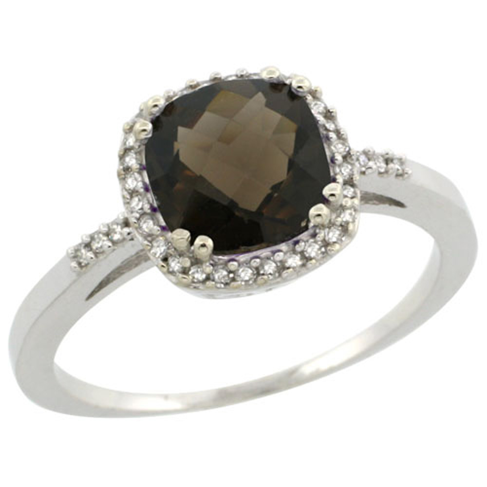 Sterling Silver Diamond Natural Smoky Topaz Ring Cushion-cut 7x7mm, 3/8 inch wide, sizes 5-10