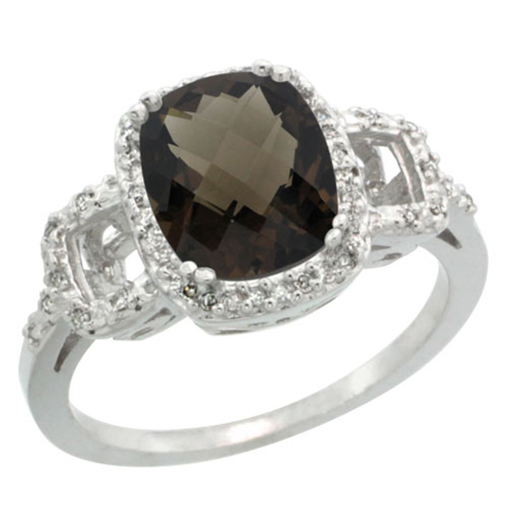 Sterling Silver Diamond Natural Smoky Topaz Ring Cushion-cut 9x7mm, 1/2 inch wide, sizes 5-10