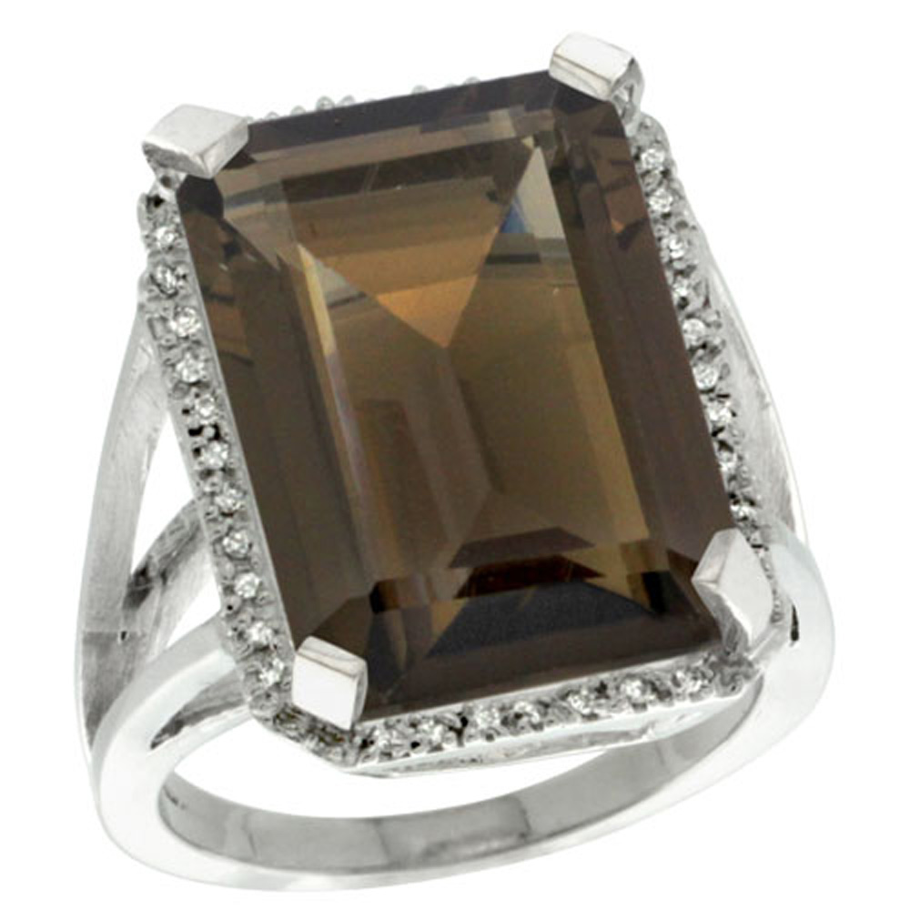 Sterling Silver Diamond Natural Smoky Topaz Ring Emerald-cut 18x13mm, 13/16 inch wide, sizes 5-10