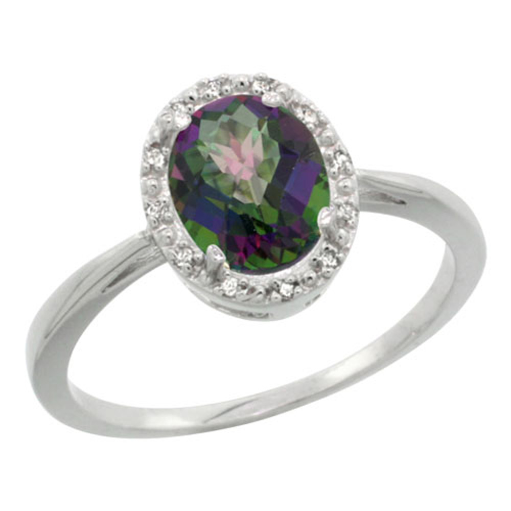 Sterling Silver Mystic Topaz Diamond Halo Ring Oval 8X6mm, 1/2 inch wide, sizes 5 10