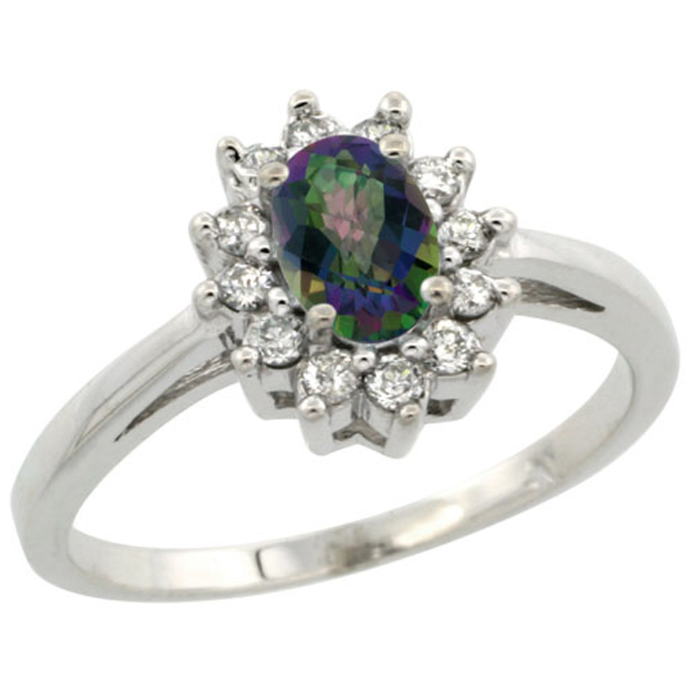 Sterling Silver Mystic Topaz Diamond Flower Halo Ring Oval 6X4mm, 3/8 inch wide, sizes 5-10