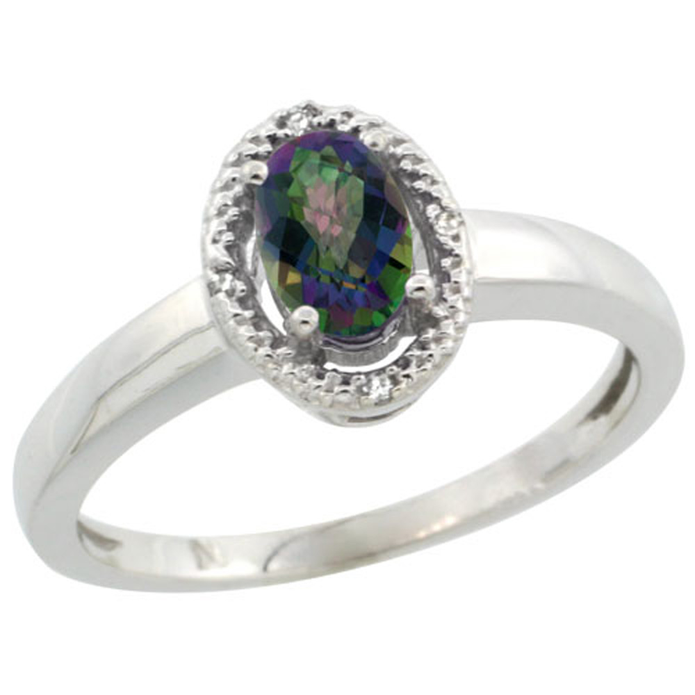 Sterling Silver Diamond Halo Mystic Topaz Ring Oval 6X4 mm, 3/8 inch wide, sizes 5-10
