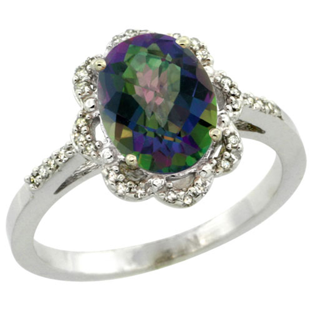 Sterling Silver Diamond Halo Mystic Topaz Ring Oval 9x7mm, 7/16 inch wide, sizes 5-10