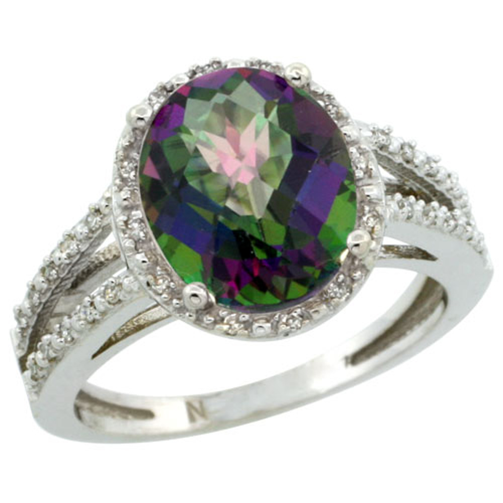 Sterling Silver Diamond Halo Mystic Topaz Ring Oval 11x9mm, 7/16 inch wide, sizes 5-10
