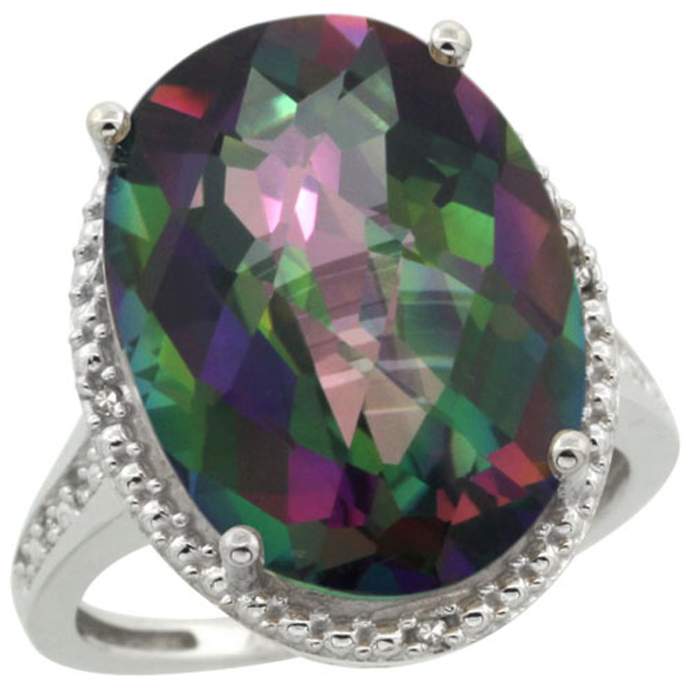 Sterling Silver Diamond Mystic Topaz Ring Oval 18x13mm, 3/4 inch wide, sizes 5-10