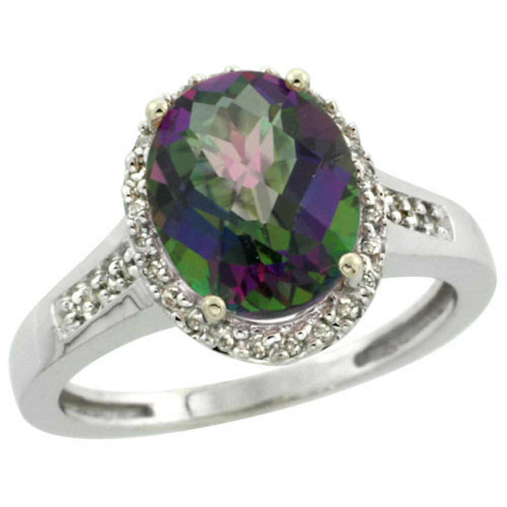 Sterling Silver Diamond Mystic Topaz Ring Oval 10x8mm, 1/2 inch wide, sizes 5-10