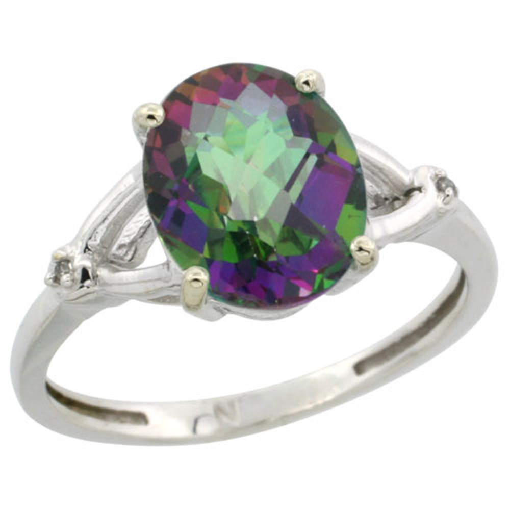 Sterling Silver Diamond Mystic Topaz Engagement Ring for Women 3/8 inch wide Sizes 5-10