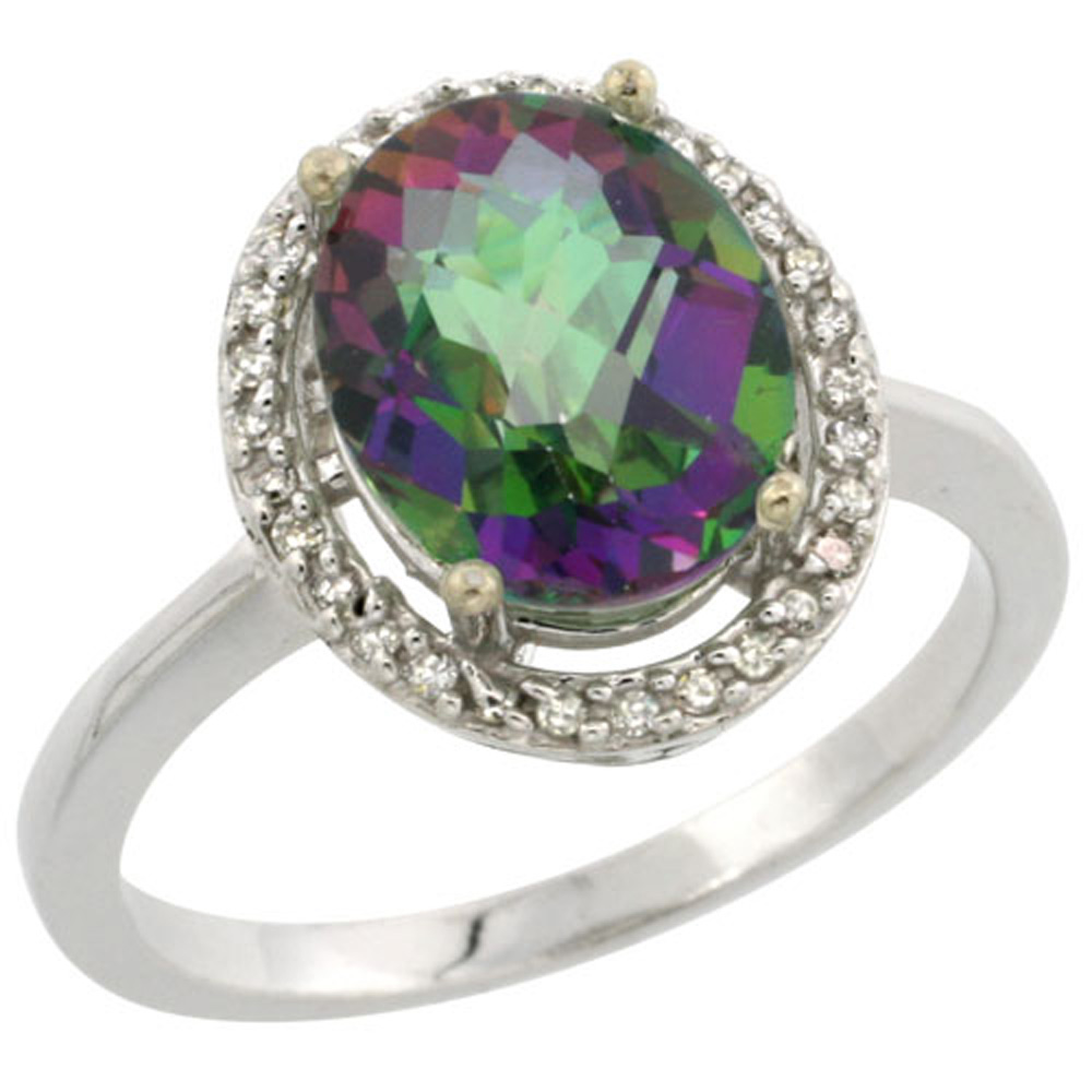 Sterling Silver Diamond Natural Mystic Topaz Ring Oval 10x8mm, 1/2 inch wide, sizes 5-10