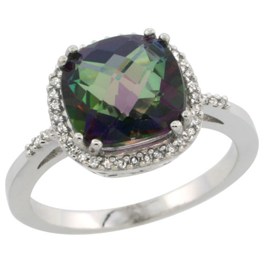 Sterling Silver Diamond Mystic Topaz Ring Cushion-cut 9x9mm, 1/2 inch wide, sizes 5-10