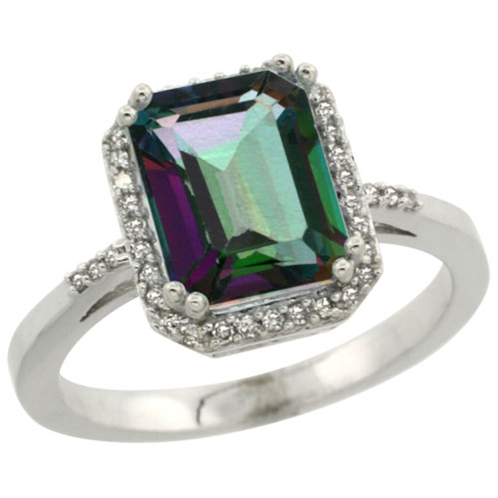 Sterling Silver Diamond Mystic Topaz Ring Emerald-cut 9x7mm, 1/2 inch wide, sizes 5-10