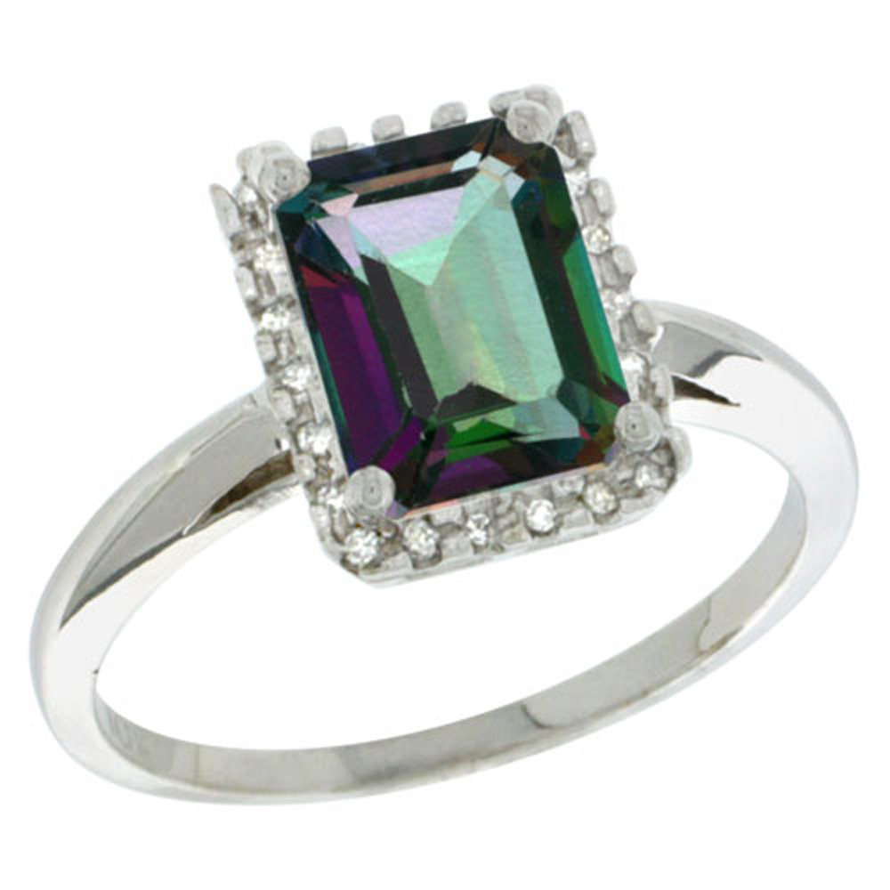 Sterling Silver Diamond Mystic Topaz Ring Emerald-cut 8x6mm, 1/2 inch wide, sizes 5-10