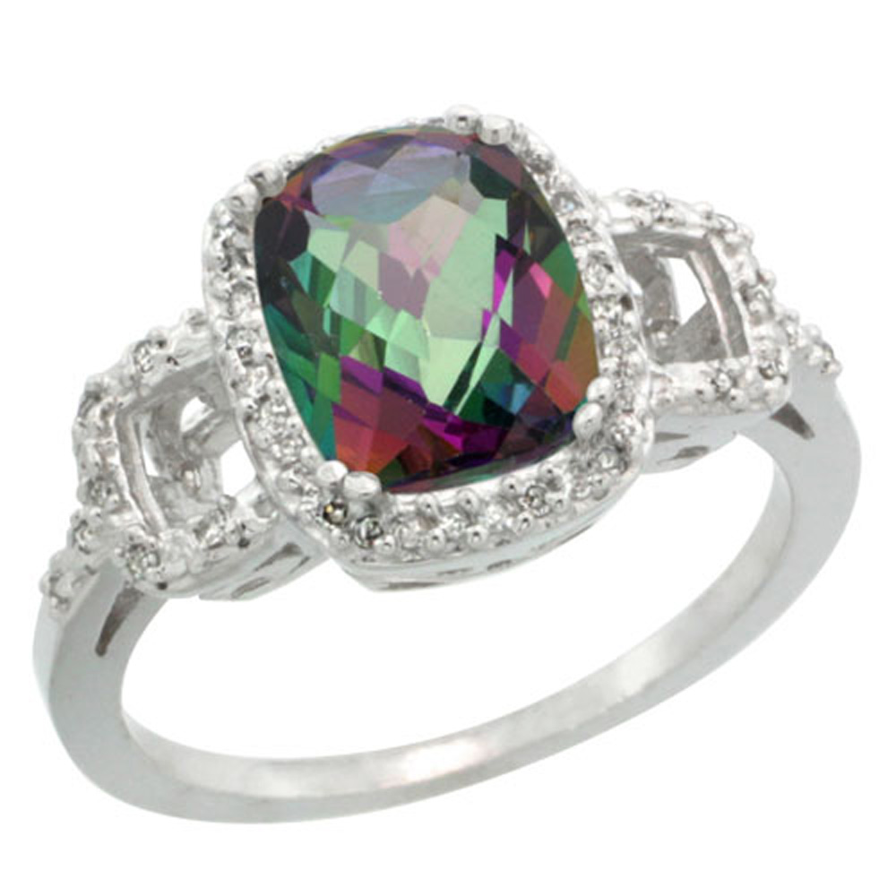 Sterling Silver Diamond Mystic Topaz Ring Cushion-cut 9x7mm, 1/2 inch wide, sizes 5-10
