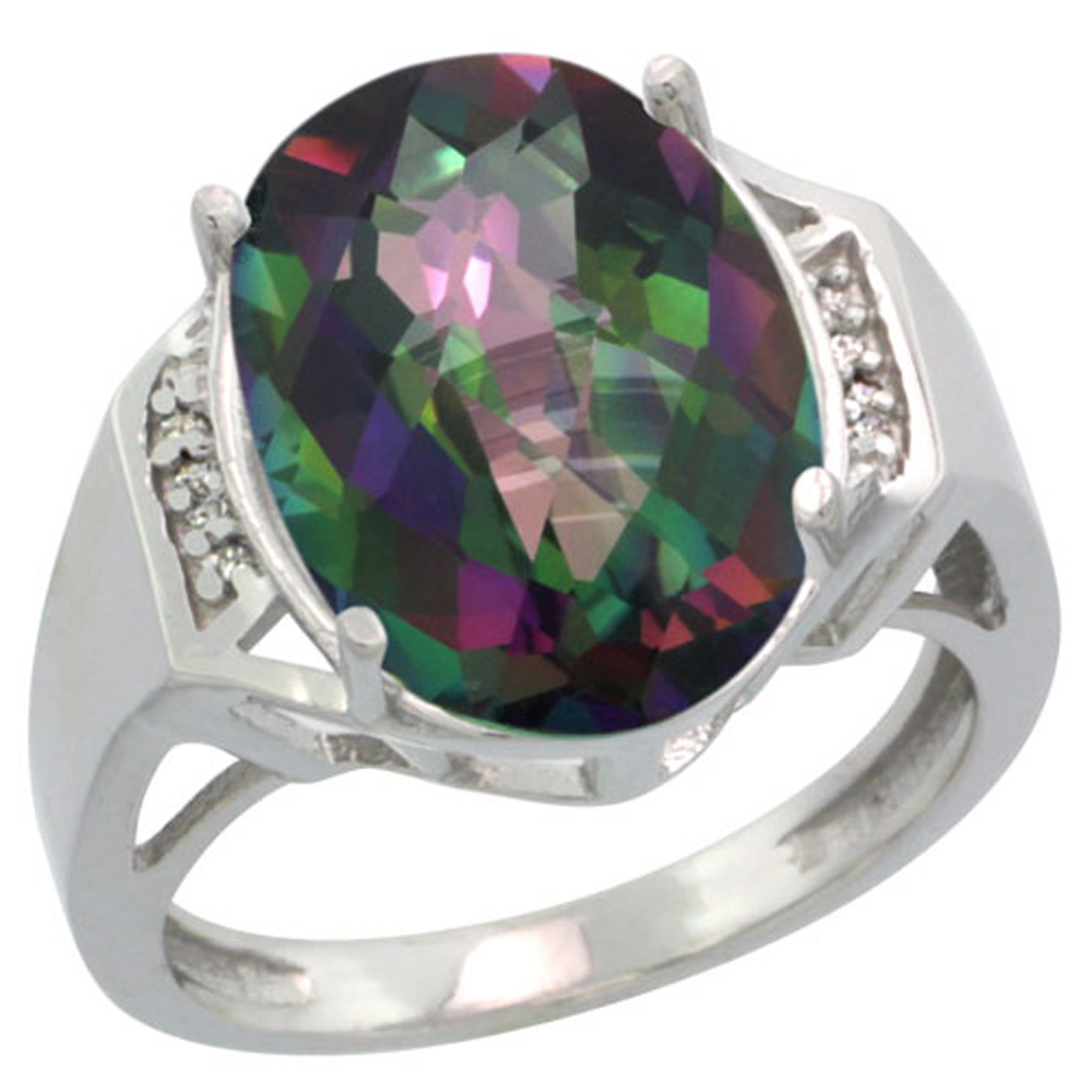 Sterling Silver Diamond Mystic Topaz Ring Oval 16x12mm, 5/8 inch wide, sizes 5-10