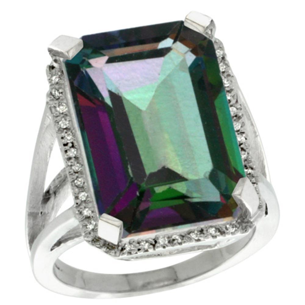 Sterling Silver Diamond Mystic Topaz Ring Emerald-cut 18x13mm, 13/16 inch wide, sizes 5-10